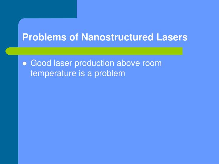 Problems of Nanostructured Lasers