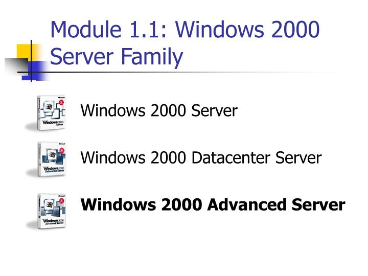 Module 1.1: Windows 2000 Server Family