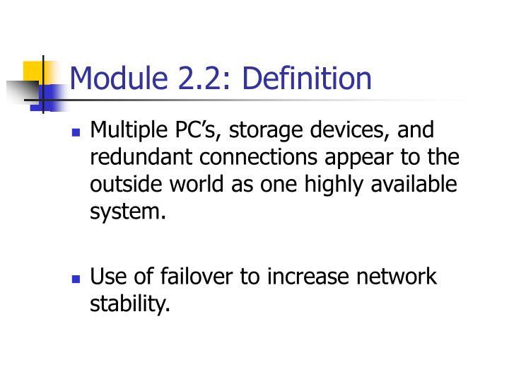 Module 2.2: Definition