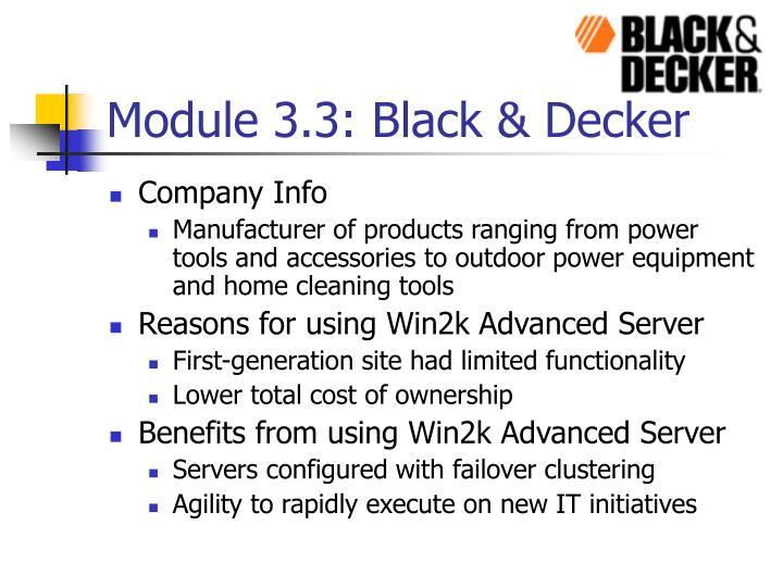 Module 3.3: Black & Decker