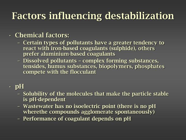 Factors influencing destabilization