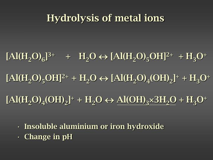 Hydrolysis of metal ions