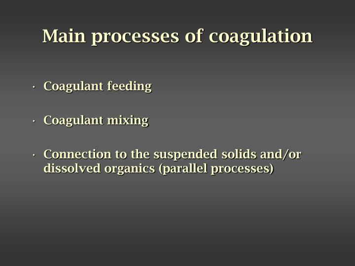 Main processes of coagulation