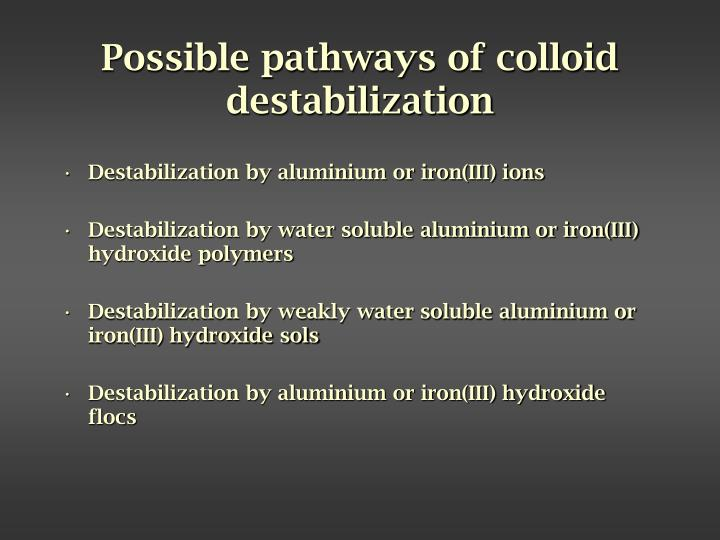 Possible pathways of colloid destabilization