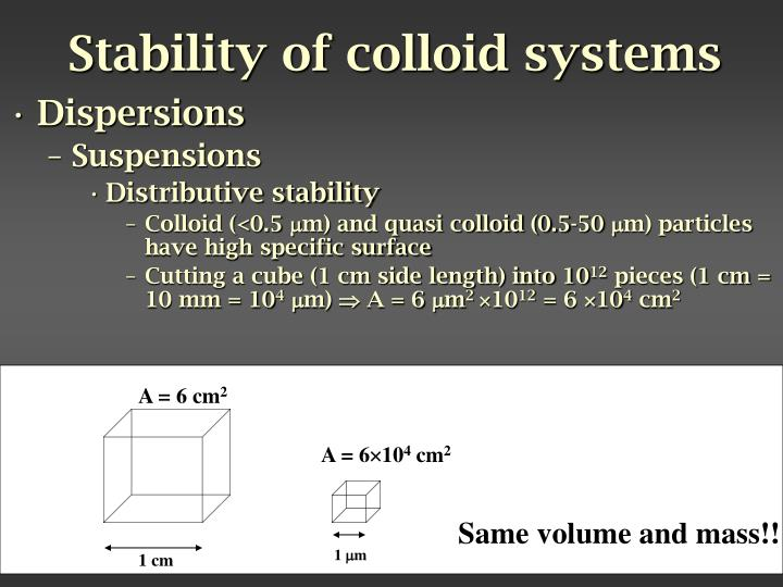 Stability of colloid systems
