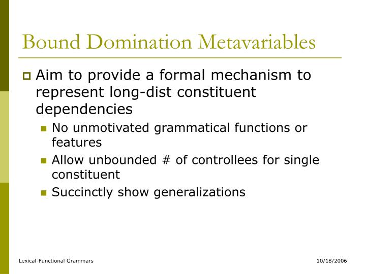 Bound Domination Metavariables