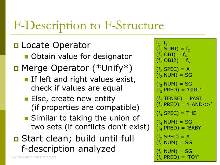 F-Description to F-Structure