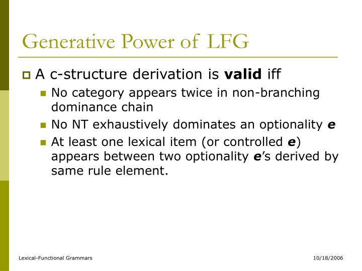 Generative Power of LFG