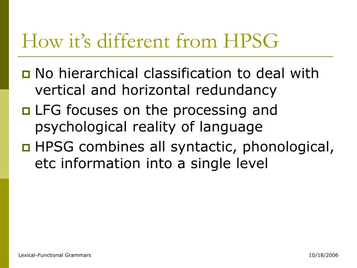 How it's different from HPSG