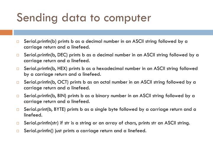 Sending data to computer