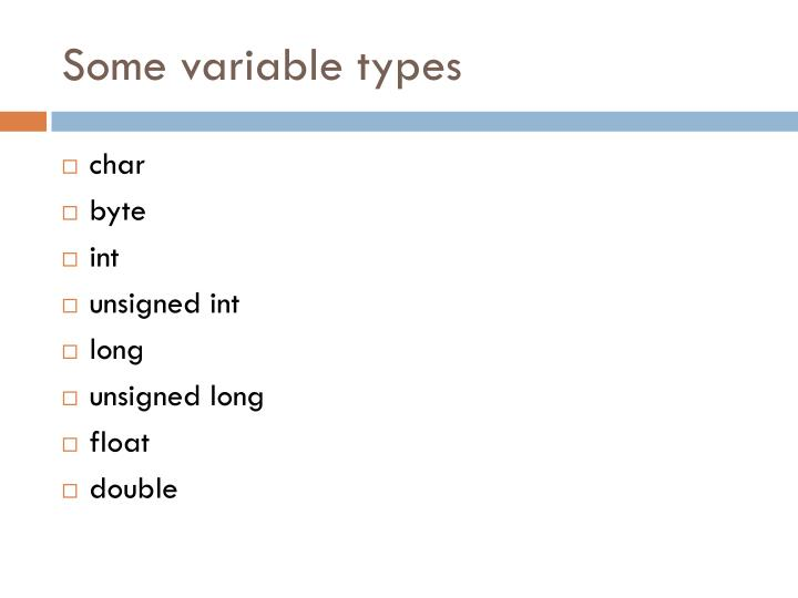 Some variable types