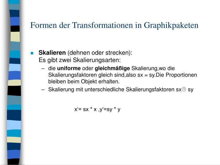 Formen der Transformationen in Graphikpaketen