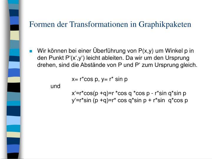 Formen der Transformationen in Graphikpaketen