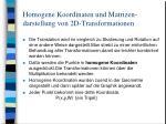 homogene koordinaten und matrizen darstellung von 2d transformationen