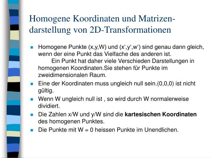 Homogene Koordinaten und Matrizen-darstellung von 2D-Transformationen