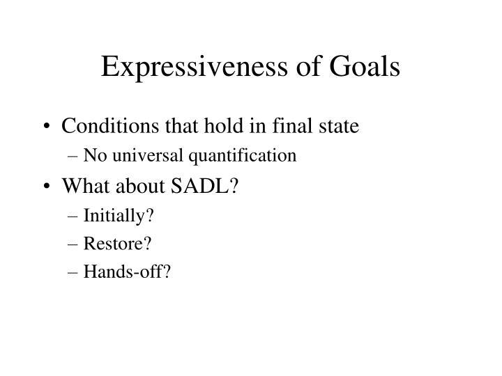 Expressiveness of Goals