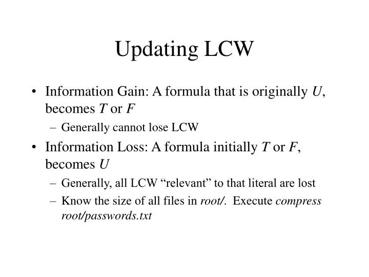 Updating LCW