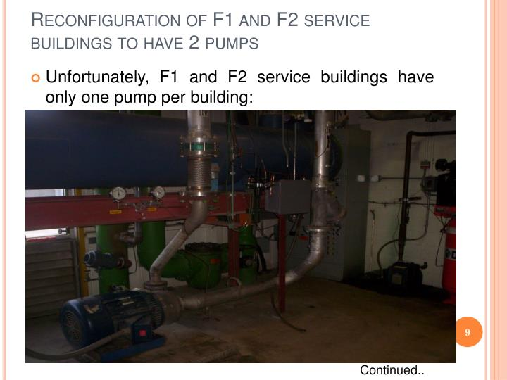 Reconfiguration of F1 and F2 service buildings to have 2 pumps