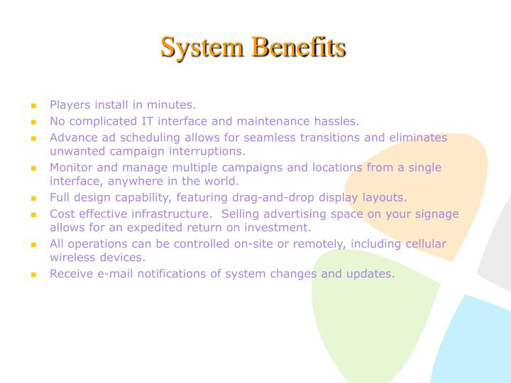System Benefits