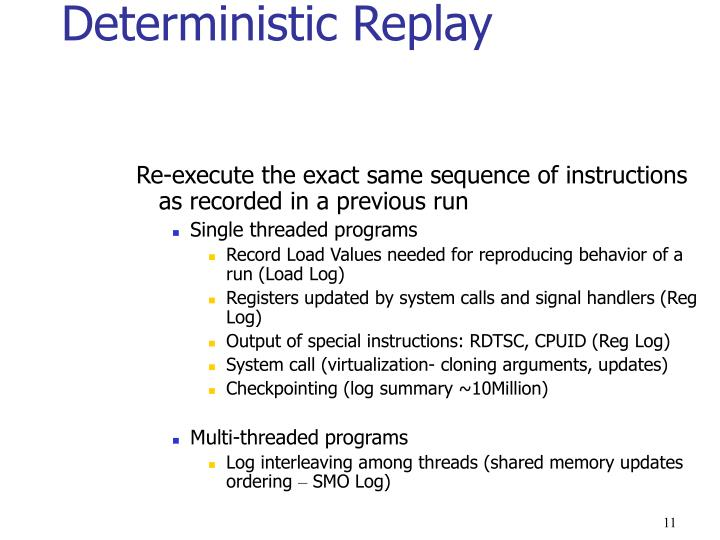 Deterministic Replay