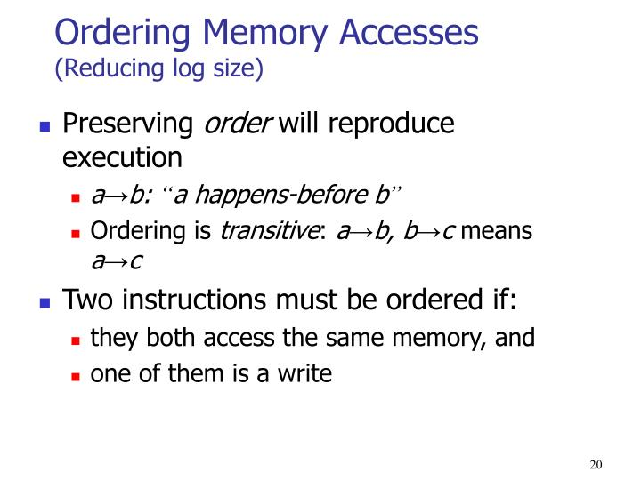 Ordering Memory Accesses