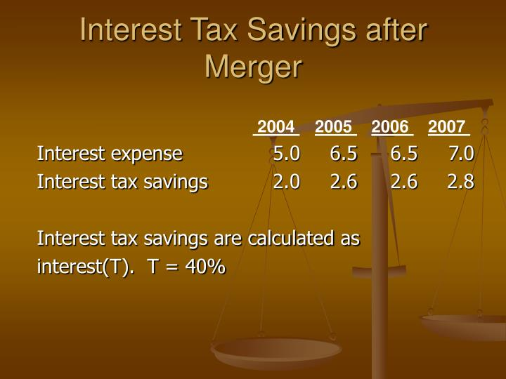 Interest Tax Savings after Merger
