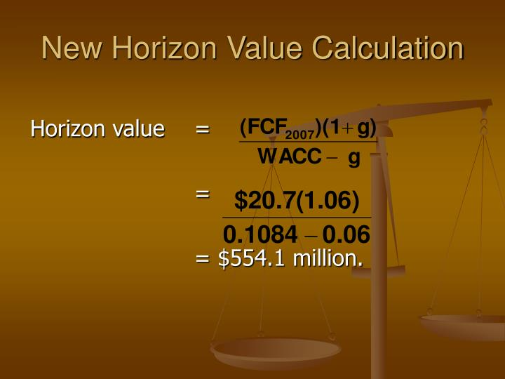 New Horizon Value Calculation