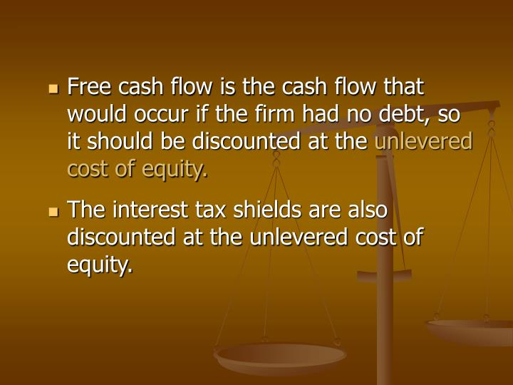 Free cash flow is the cash flow that would occur if the firm had no debt, so it should be discounted at the