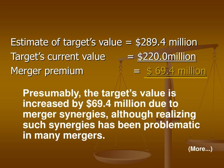 Estimate of target's value = $289.4 million