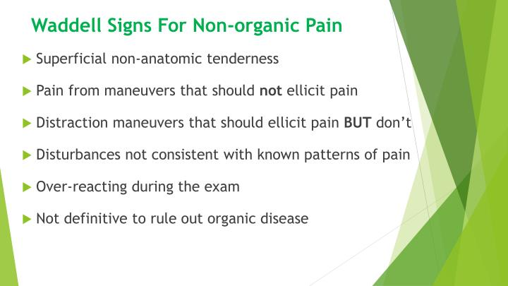 Waddell Signs For Non-organic Pain