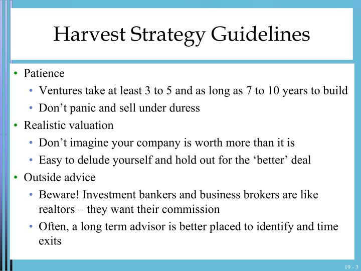 Harvest strategy guidelines