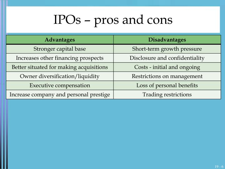 IPOs – pros and cons