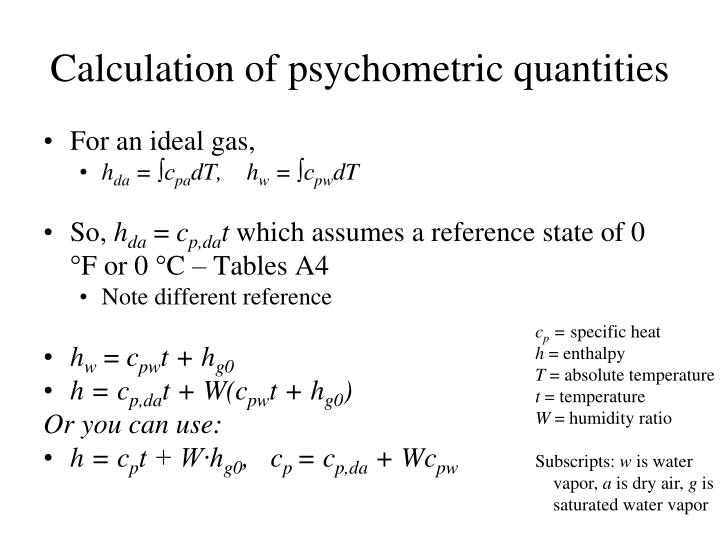 Calculation of psychometric quantities