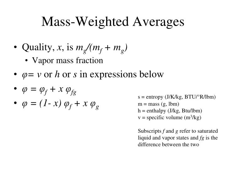 Mass-Weighted Averages