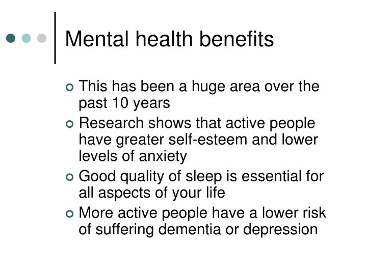 Mental health benefits