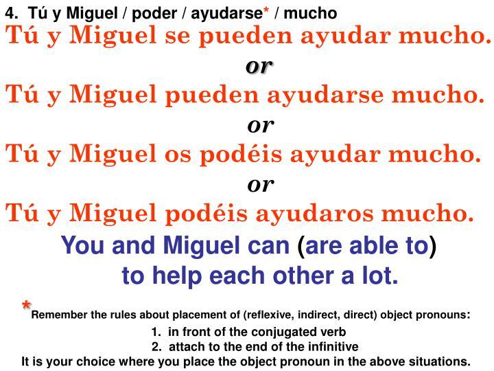 4.  Tú y Miguel / poder / ayudarse