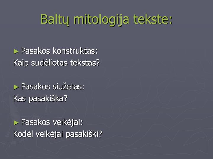 Baltų mitologija tekste: