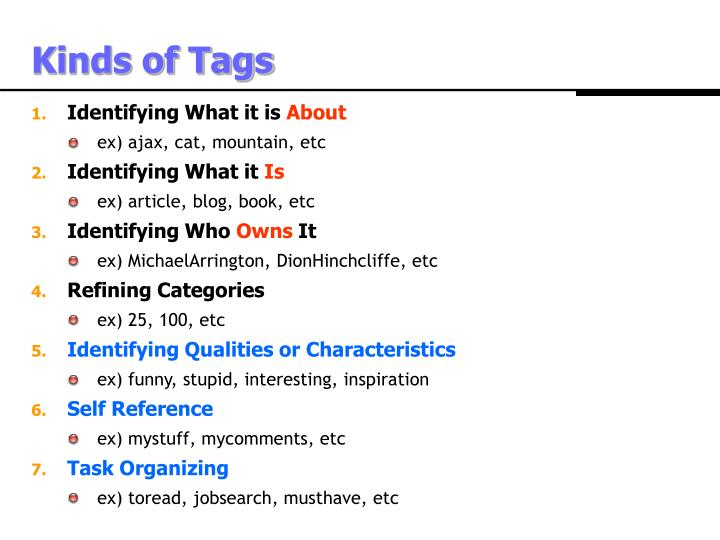 Kinds of Tags