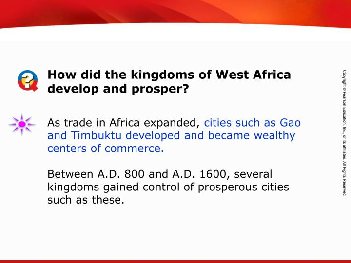 How did the kingdoms of West Africa develop and prosper?