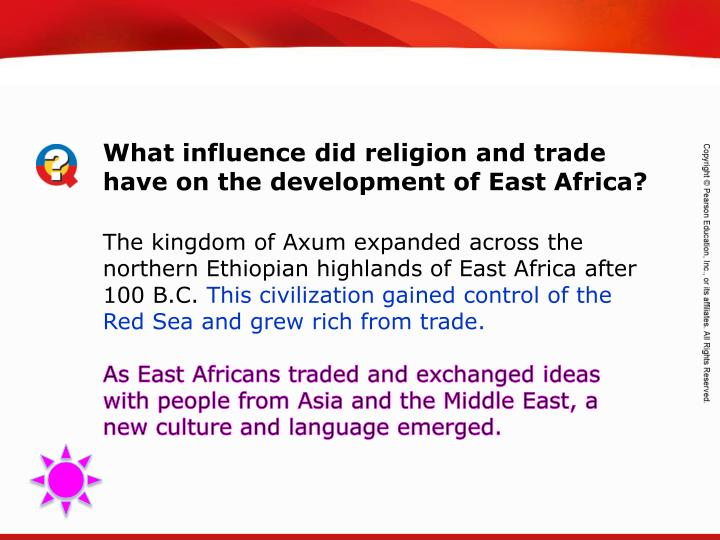 What influence did religion and trade have on the development of East Africa?