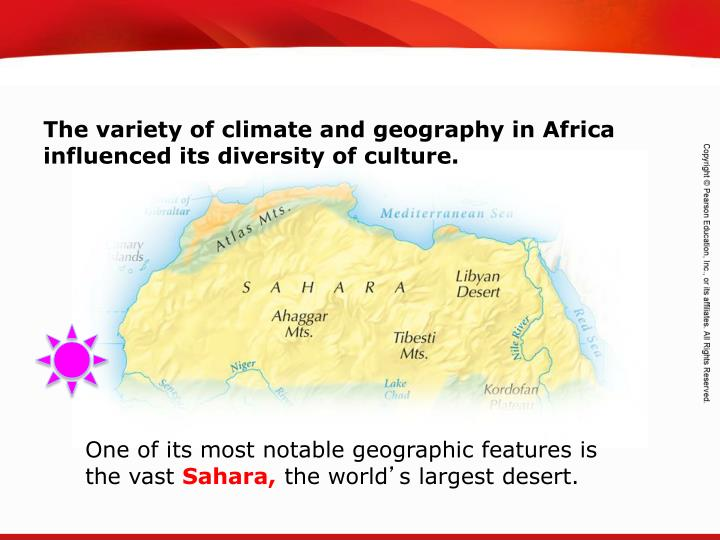 The variety of climate and geography in Africa influenced its diversity of culture.