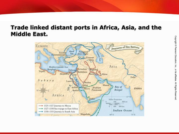 Trade linked distant ports in Africa, Asia, and the Middle East.