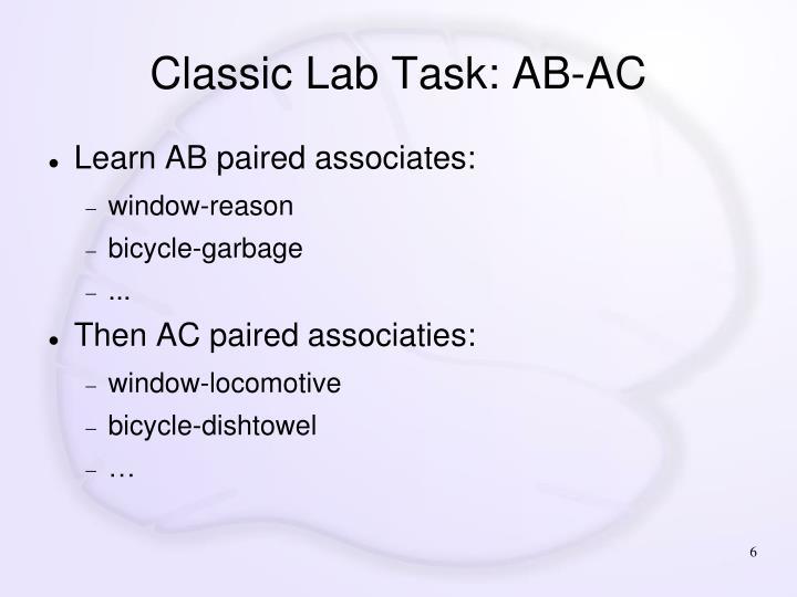 Classic Lab Task: AB-AC
