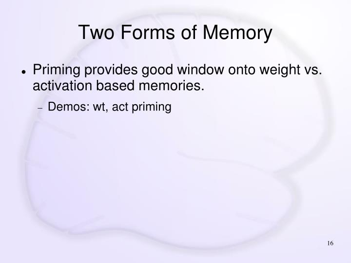 Two Forms of Memory