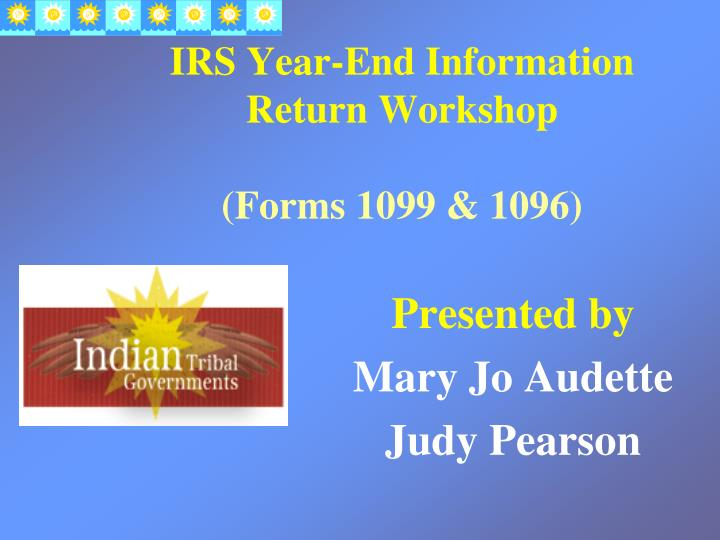 Irs year end information return workshop forms 1099 1096