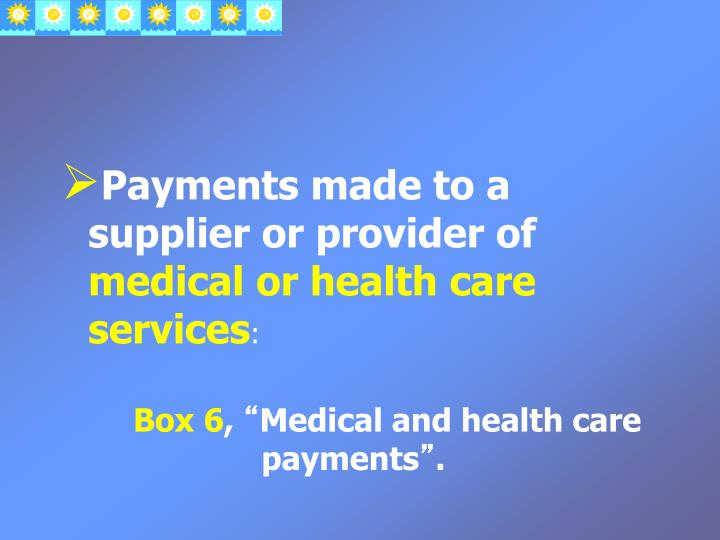Payments made to a supplier or provider of