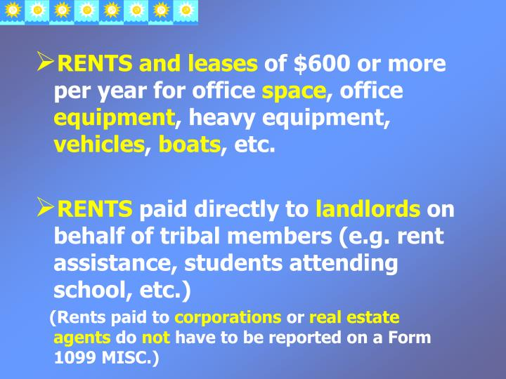 RENTS and leases