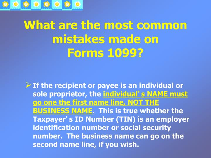 What are the most common mistakes made on