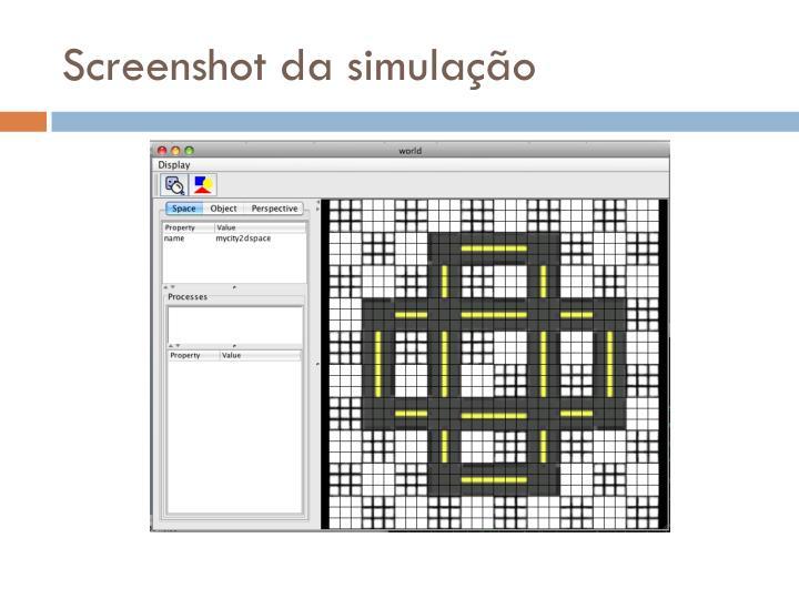 Screenshot da simulação