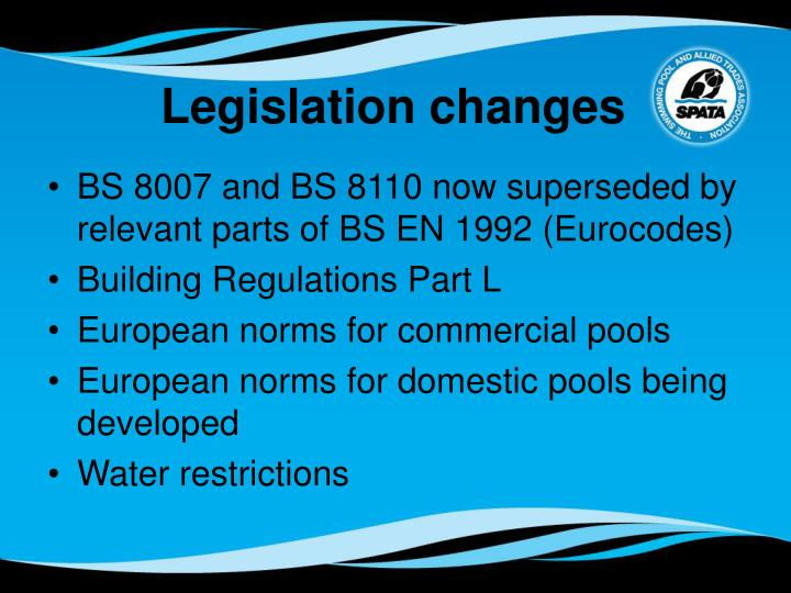 Legislation changes